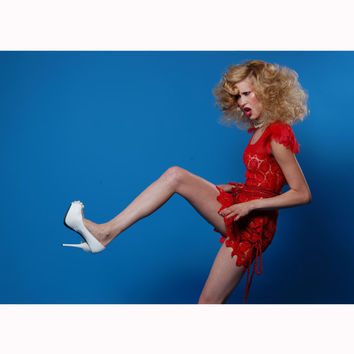 Red Lace Dress with Ostrich Feather Epaulets