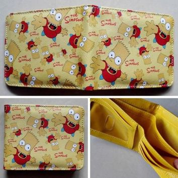 Anime The Simpsons Bart Simpson Logo wallets Purse Multi-Color 12cm Leather W111 NEW