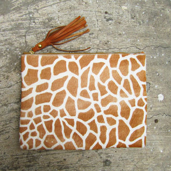Giraffe Print Calf Hair Zipper Pouch Leather Clutch