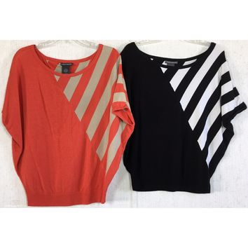 Lot of 2 Chelsea & Theodore Dolman Top Stripe Colorblock Knit Off Shoulder S