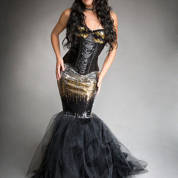 Size Small Black Silver and Gold sequin mermaid style sparkle tulle prom dress Halloween dress Ready to Ship