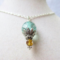 Teal Faceted Czech Glass & Amber Yellow Cathedral Glass Silver Daisy Necklace