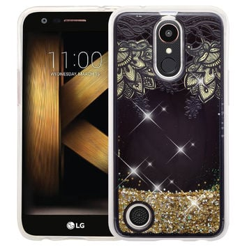 LG K20 Plus | K20 V | K10 2017 | Harmony  Case Luxury Bling Glitter Case, Liquid Sparkle Quicksand Case - Gold Lace