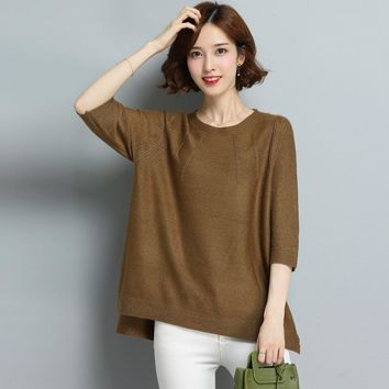 Autumn Fashion Half Sleeve Jacquard Weave Loose Round Neck Solid Color All-match Jumper Women Pullover Knitted Sweater