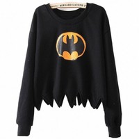 Women Bat Print Long Sleeve Serrated Loose Jumper Sweatershirt, Small, Black
