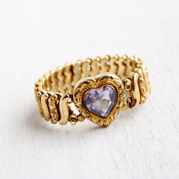 Vintage Expansion Purple Heart Sweetheart Bracelet - WWII Gold Filled Signed Victorian Jewelery / Stretchy Love