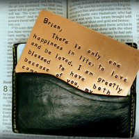 Wallet Insert Card - Copper Hand Stamped - Anniversary Gift - 7 year 7th Year