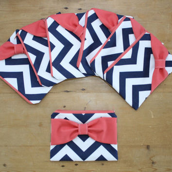 Bridesmaid Gift Set / Bachelorette Party Favors - Navy Chevron Coral Bow - Wedding Cosmetic Cases - Customizable Quantity and Bow Style