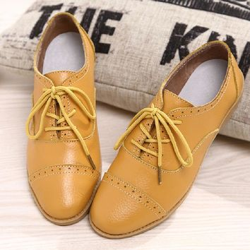 Designer Summer Oxford Genuine Leather Women Flats Brogue Soft White Black Casual Shoes Pointed Toe Chaussure Femme