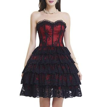 Ravishingly Lace Trimmed Cup Bustier Corset Dress Ruffle Layer