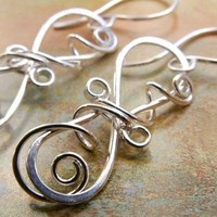 Sculpted Filigree Earrings, Sterling Silver