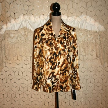 Womens Blouse Large Dressy Top Silky Shirt Abstract Animal Print Gold Brown Long Sleeve Button Up Oversized Jones New York Womens Clothing