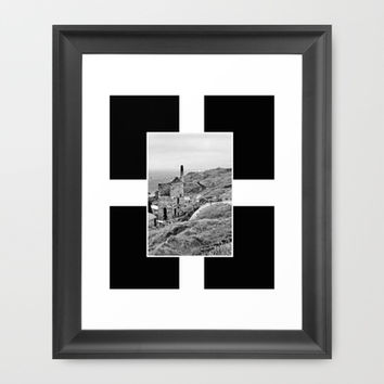 Cornish Tin Mine And Flag Framed Art Print by Linsey Williams