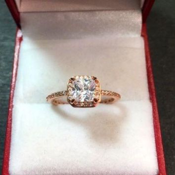 New 1.00 ct CZ 14k Rose Gold On Silver Engagement Wedding Eternity Ring Size-8
