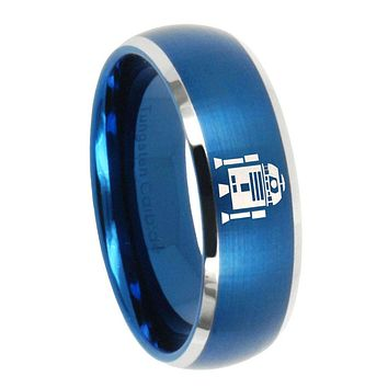 10mm Star Wars R2D2 Dome Brushed Blue 2 Tone Tungsten Wedding Bands Ring