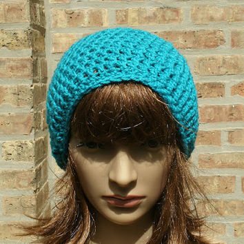 Slouchy Hat - The Eden in Peacock - Womens Hat - Mens Hat - Slouchy Beanie - Teens Hat - Gamers Hat