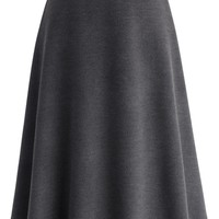 Classy Chic Wool-blend A-line Midi Skirt in Smoke
