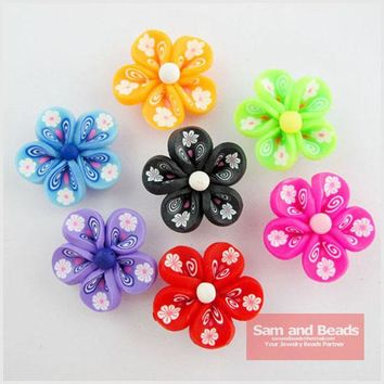 (20Pcs )Mixed Polymer Fimo Clay 5-Leaf Flower Spacer Beads 25mm FM08