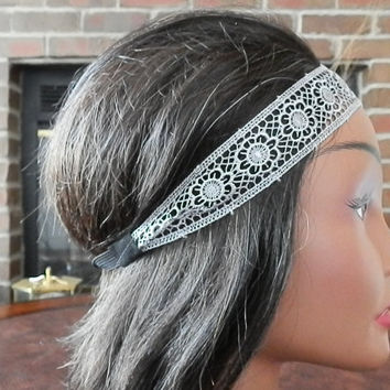 Floral Lace Headband, Floral lace head bands, Great Gatsby, Wedding headband, Hair band, Boho head wrap, Lilac, Fashion accessory for women