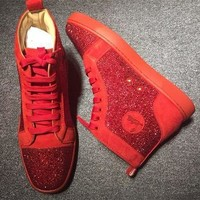 Christian Louboutin CL Rhinestone Style #2105 Sneakers Fashion Shoes Best Deal Online