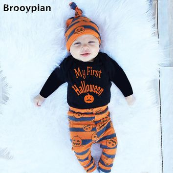 Cute Newborn Baby Boys Girls Clothes Black Letter  My First Halloween Bodysuit+Pumpkin Pants+Hat Infant 3pcs Baby Clothing Set