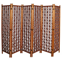 Geometric 6-Panel Teak Folding Screen with Brass Details