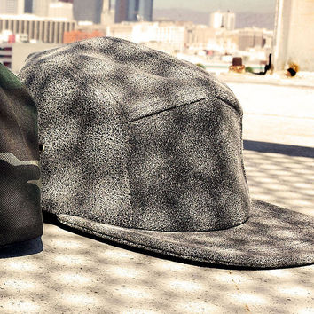 Stone Wash Leather Baseball Cap