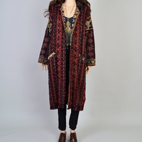 1980s Ikat Duster / Vintage Jacket / Tribal Kilim / Boho Bohemian / Hippie Style / Southwest / Long Winter Coat / Size Small Medium