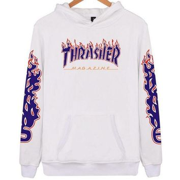 Thrasher flame pattern loose hooded sweater long-sleeved skateboard white