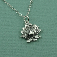 Detailed Lotus Flower Necklace - 925 sterling silver - lotus pendant charm jewelry - yoga gift - buddhist