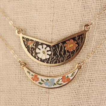 Geometric Vintage Bib Necklace White and Orange Flowers, Small Black Pendant Enamel Necklace Choker, Cloisonne Necklace Small Choker