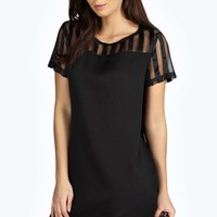 Sally Striped Organza Shift Dress