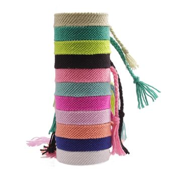 One Solid color friendship bracelet handknotted embroidery thread summer surf tie bracelet woman man kid gift for best friend