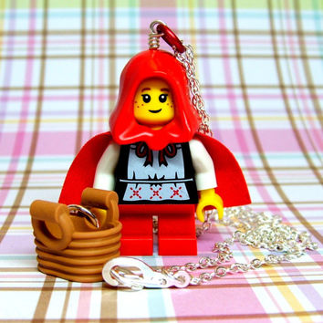 Red Riding Hood Necklace made from NEW Series 7 LEGO (r) Minifig