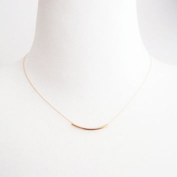 Gold Tube Necklace - simple, gold tube, everyday necklace