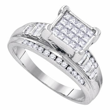 Sterling Silver Womens Princess Diamond Square Cluster Bridal Wedding Engagement Ring 1/3 Cttw
