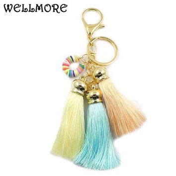 ESBONFI WELLMORE 2017 ribbon,long-tassel,colorful alloy Key Chain For Women Girl Bag Keychain