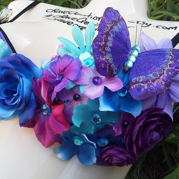 Purple and Turquoise Flower Bra with Rhinestones and Butterfly with Blue EL Wire Light Up Rave Custom Daisy Rose Bling EDC Ultra