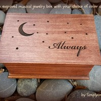 moon and stars, moon, stars, music box, jewelry box, Always, custom music box, musical jewelry box, birthday gift, personalized, Christmas