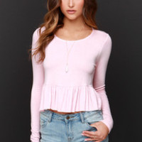 Ruffle of Surprises Blush Pink Long Sleeve Crop Top