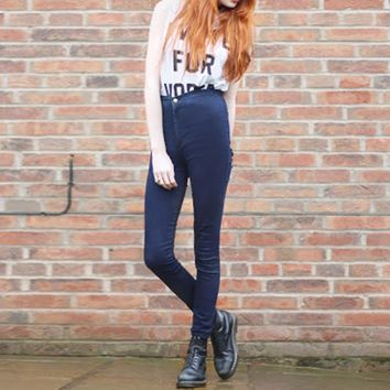 Women High Waist Skinny Slim Denim Jeans Trouser Long Pencil Pants Stretchy YRD