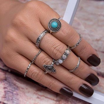 8PCS/Set Bohemia Vintage Leaf Jewelry Unique Carving Tibetan Ring for Woman Punk Boho Opal Ring Sets