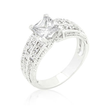Rana Princess Cut Solitaire Filigree Engagement Ring  | 1.5ct | Cubic Zirconia