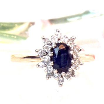Diamond Blue Sapphire 14K Engagement Ring/ 2 Tone Gold