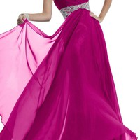Gorgeous Bridal Stylish Rhinestone Empire Chiffon Evening Prom Gowns 2015- US Size 8 Fuchsia