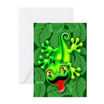 GECKO LIZARD BABY CARTOON GREETING CARDS