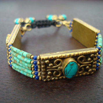 Tibetan Green Turquoise Adjustable Bracelet - Tibetan Turquoise & Brass Bracelet - Yoga Jewelry, Buddhist Jewelry, Womens Jewelry