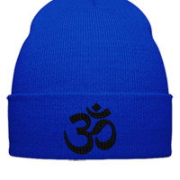 namaste embroidery - Beanie Cuffed Knit Cap