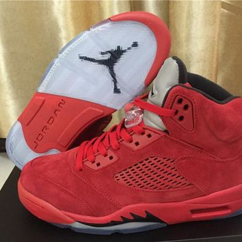 Air Jordan 5 Retro Red Suede Basketball Shoes Size 41-47