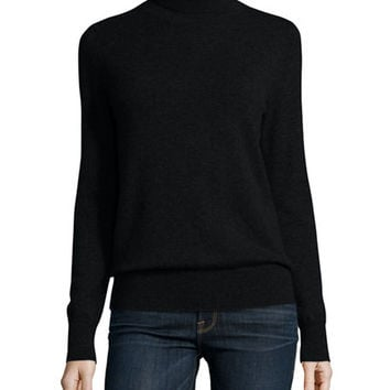 Neiman Marcus Cashmere Collection Classic Long-Sleeve Cashmere Turtleneck